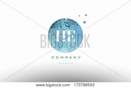 He H E  Watercolor Grunge Vintage Alphabet Letter Logo