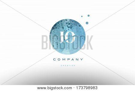 Io I O  Watercolor Grunge Vintage Alphabet Letter Logo