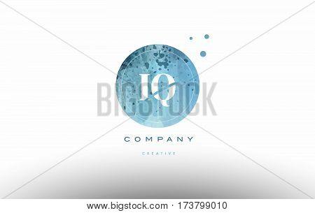 Iq I Q  Watercolor Grunge Vintage Alphabet Letter Logo