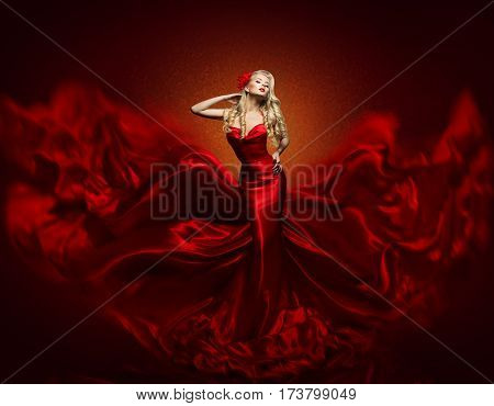 Woman Fashion Dress Red Art Gown Flying Silk Fabric Elegant Girl in Fashions Waving Cloth