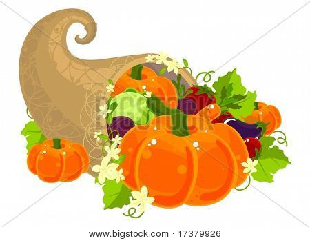 Illustration of a cornucopia filled with vegetables and decorated with flowers