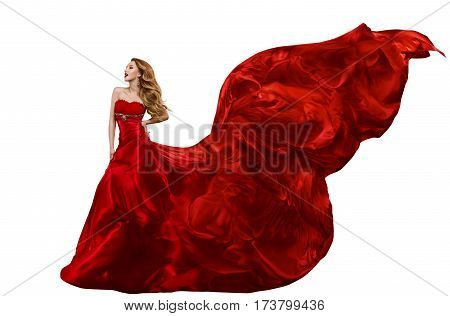 Woman Fashion Red Dress Gown Waving on Wind Girl with Flying Silk Fabric Isolated over White