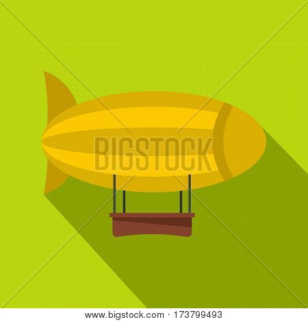 Yellow airship icon. Flat illustration of yellow airship vector icon for web isolated on lime background