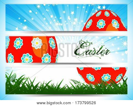 Red Decorated Easter Eggs Divided Over Three Panels with Star Burst Floral Text and Grass