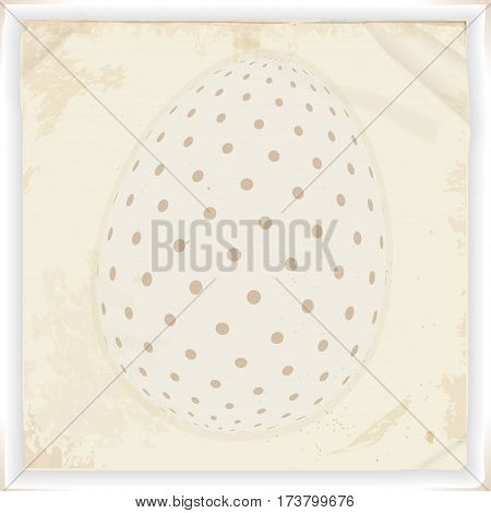 White Decorated Easter Egg Over Vintage Square Panel