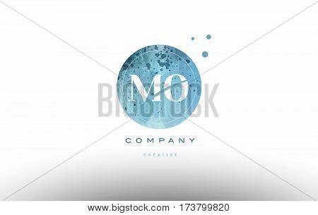 Mo M O  Watercolor Grunge Vintage Alphabet Letter Logo