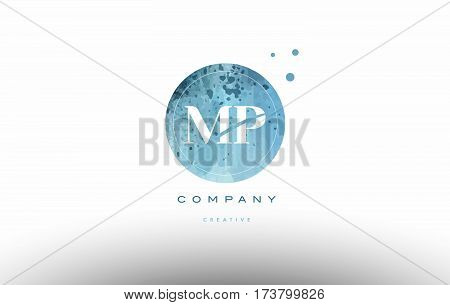 Mp M P  Watercolor Grunge Vintage Alphabet Letter Logo