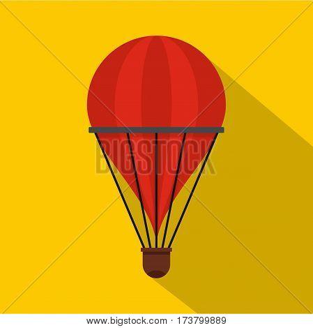 Aerostat icon. Flat illustration of aerostat vector icon for web isolated on yellow background