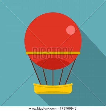 Red aerostat balloon icon. Flat illustration of red aerostat balloon vector icon for web isolated on baby blue background