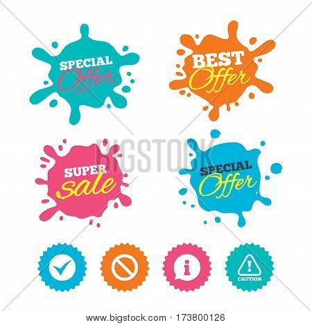 Best offer and sale splash banners. Information icons. Stop prohibition and attention caution signs. Approved check mark symbol. Web shopping labels. Vector