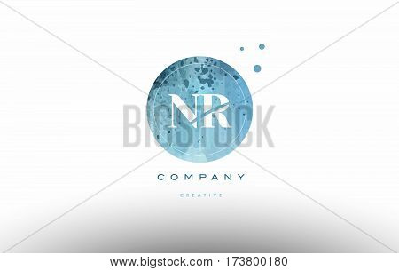Nr N R  Watercolor Grunge Vintage Alphabet Letter Logo