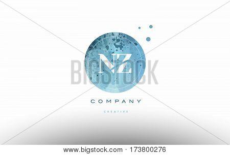 Nz N Z  Watercolor Grunge Vintage Alphabet Letter Logo