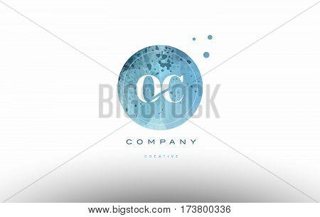 Oc O C  Watercolor Grunge Vintage Alphabet Letter Logo