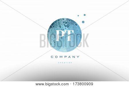 Pt P T  Watercolor Grunge Vintage Alphabet Letter Logo