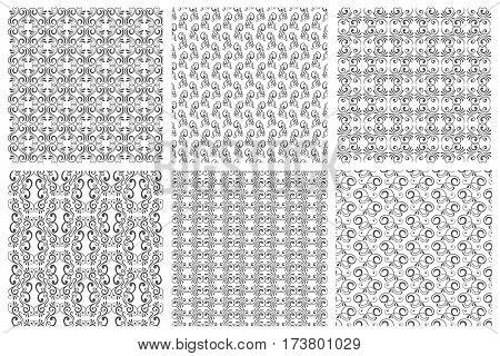 Ornate backgrounds or vector floral patterns set in vintage curl style. Victorian black pattern with floral curle elements illustration