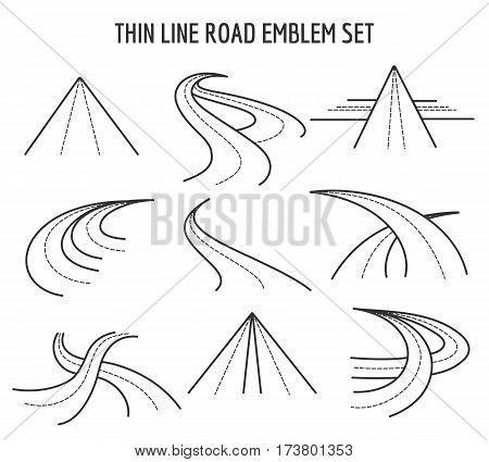 Thin line road and highway icons. Linear traffic route signs on white background. Straight and curve speedway in line style illustration