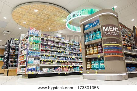 New York February 26 2017: Men's grooming section in a Rite Aid pharmacy.