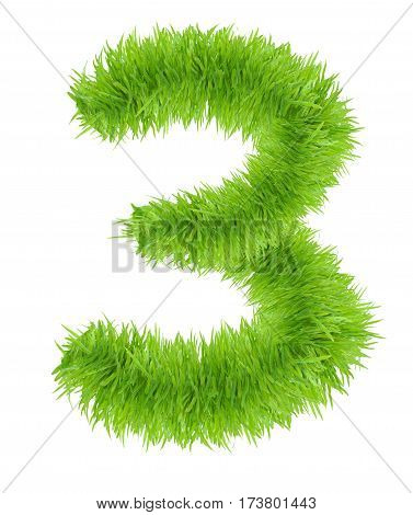 photo realistic grass number 3 Three isolated on white background