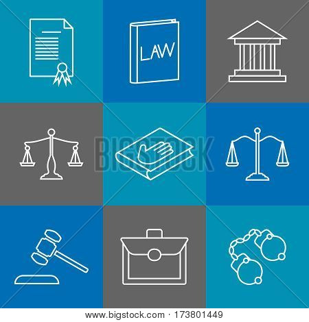 Law and justice thin line icons. Juridical and legal linear signs. Authority legislation, gavel and shield. Vector illustration