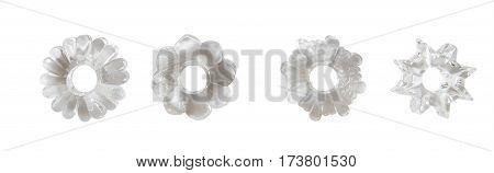 Sex toys - set of rings holding penis erection isolated on white