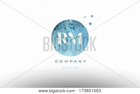 Rm R M  Watercolor Grunge Vintage Alphabet Letter Logo