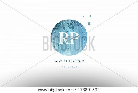 Rp R P  Watercolor Grunge Vintage Alphabet Letter Logo