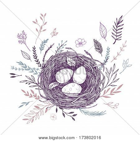 Hand Drawn Vector Illustration. Happy Easter! Spring Nest With Bird Eggs. Perfect For Invitations, G