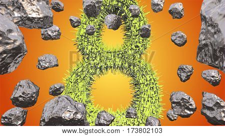 8 March symbol. Figure of eight made of green city blocks flying in the space with asteroids. Can be used as a decorative greeting grungy or postcard for international Woman's Day. 3d illustration.