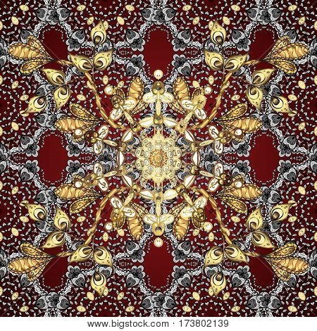 Raster. Seamless Pattern. Red Background With White And Golden Element.