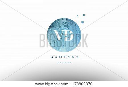 Vd V D  Watercolor Grunge Vintage Alphabet Letter Logo