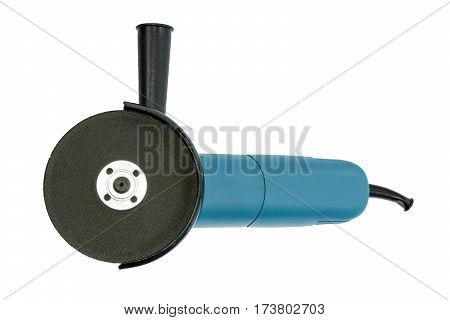 Compact blue grinder on the white background