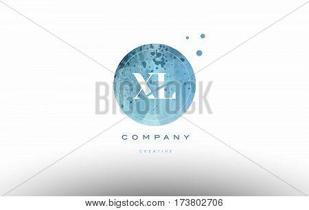 Xl X L  Watercolor Grunge Vintage Alphabet Letter Logo