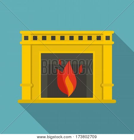 Fireplace with fire burning icon. Flat illustration of fireplace with fire burning vector icon for web isolated on baby blue background