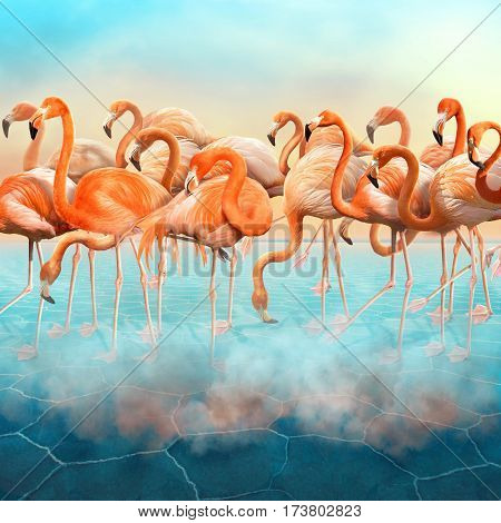 Compositing with a range of beautiful red flamingo in the blue desert with colorful sunset sky