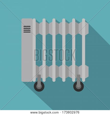 White electric heater on wheels icon. Flat illustration of white electric heater on wheels vector icon for web isolated on baby blue background