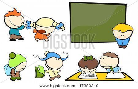 Funny kids #4 - school (raster version)