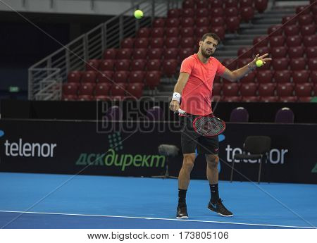 Sofia Bulgaria - November 27 2015: Sofia Bulgaria Workout on Grigor Dimitrov for demonstrative match in Arena Armeec hall Sofia Bulgaria