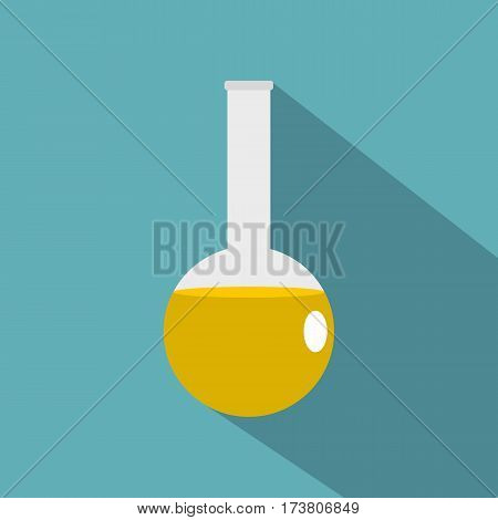 Chemical laboratory flask icon. Flat illustration of chemical laboratory flask vector icon for web isolated on baby blue background