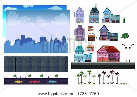 City 2d game level kit . Vector collection For Video Game On White Background