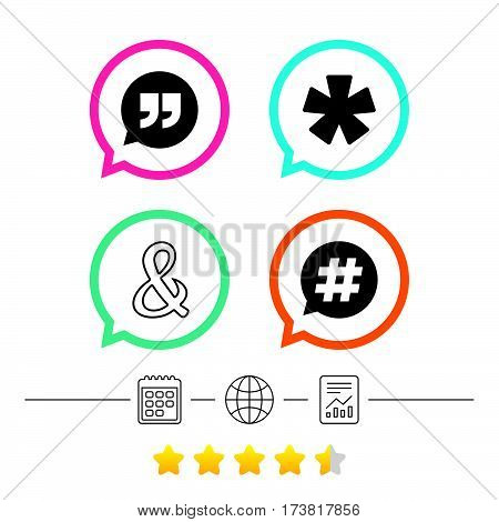 Quote, asterisk footnote icons. Hashtag social media and ampersand symbols. Programming logical operator AND sign. Speech bubble. Calendar, internet globe and report linear icons. Star vote ranking