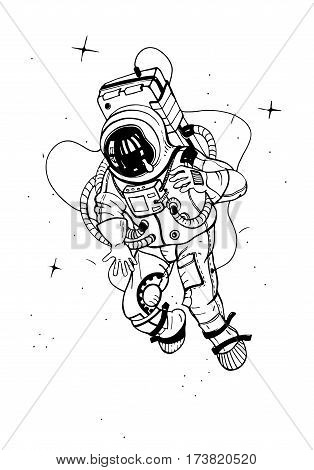 Astronaut in spacesuit. Vector illustration. Cosmonaut into space on the background of stars.