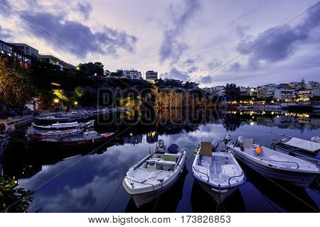 Agios Nikolaos Town lake reflections  Crete Greece