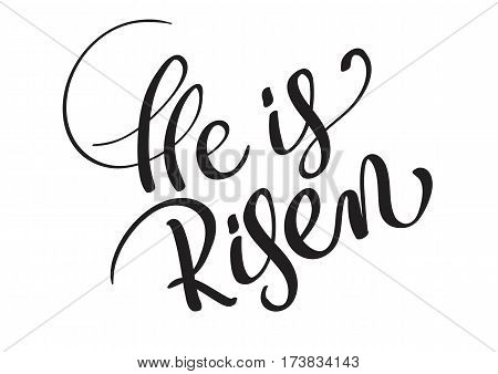 He is risen text isolated on white background. calligraphy and lettering.