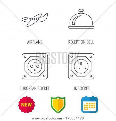 Air-plane, european socket and reception bell icons. UK socket linear sign. Shield protection, calendar and new tag web icons. Vector
