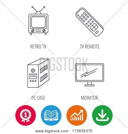 Retro TV, PC case and monitor icons. TV remote linear sign. Award medal, growth chart and opened book web icons. Download arrow. Vector