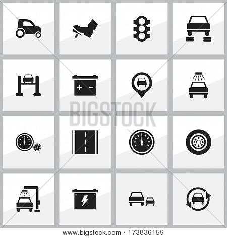 Set Of 16 Editable Vehicle Icons. Includes Symbols Such As Car Lave, Speed Control, Stoplight And More. Can Be Used For Web, Mobile, UI And Infographic Design.
