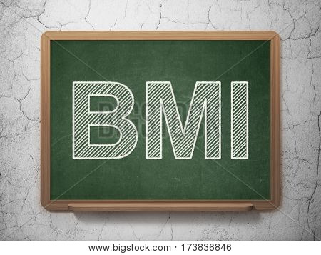 Healthcare concept: text BMI on Green chalkboard on grunge wall background, 3D rendering