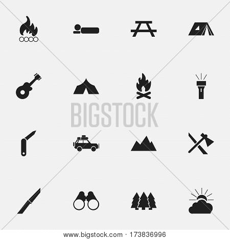 Set Of 16 Editable Camping Icons. Includes Symbols Such As Refuge, Clasp-Knife, Musical Instrument And More. Can Be Used For Web, Mobile, UI And Infographic Design.