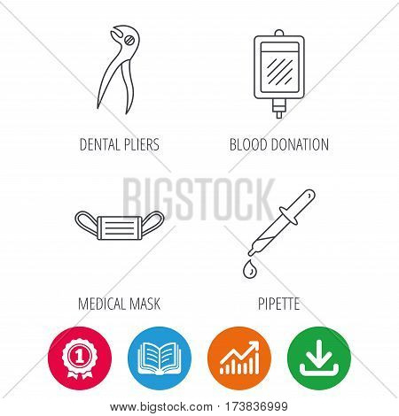 Medical mask, blood and dental pliers icons. Pipette linear sign. Award medal, growth chart and opened book web icons. Download arrow. Vector
