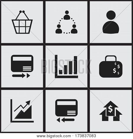Set Of 9 Editable Statistic Icons. Includes Symbols Such As Banking House, Statistic, Transmission And More. Can Be Used For Web, Mobile, UI And Infographic Design.